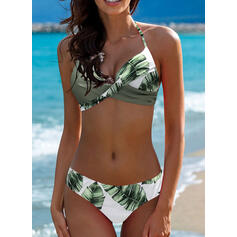 Tropical Print Halter Sexy Bikinis Swimsuits
