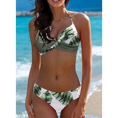 Tropischer Druck Neckholder Sexy Bikinis Bademode