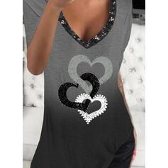 Degradada Corazón Impresión Lentejuelas Cuello en V Manga Corta Camisetas