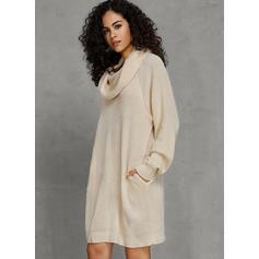 Chunky knit Turtleneck Casual Long Sweater Dress