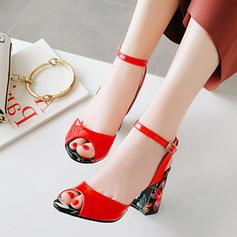 Bayanlar PU Tıknaz Topuk Sandalet Pompalar Arkası açık iskarpin Ile Toka ayakkabı