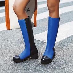 Donna Similpelle Tacco spesso Stivali al ginocchio con Cerniera scarpe