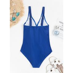 Print Splice color Strap V-neck Plus Size One-piece Swimsuits
