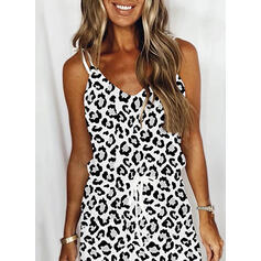 Print/Leopard Sleeveless Sheath Above Knee Casual Slip Dresses