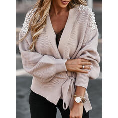 Solid Beaded Casual Cardigan