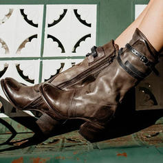 Women's Microfiber Leather Low Heel Boots Mid-Calf Boots With Buckle Zipper shoes