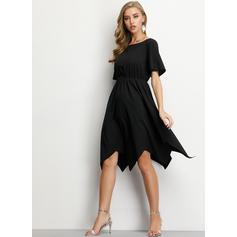 Jednolita Krótkie rękawy W kształcie litery A Długośc do kolan Mała czarna/Casual/Przyjęcie/Elegancki Sukienki