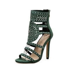Femmes Suède Talon stiletto Sandales Escarpins À bout ouvert avec Strass Brodé Zip chaussures
