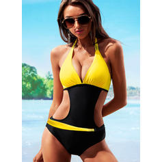 Low Waist Halter Elegant Plus Size One-piece Swimsuits
