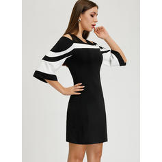 Striped 3/4 Sleeves/Cold Shoulder Sleeve Sheath Above Knee Elegant Dresses