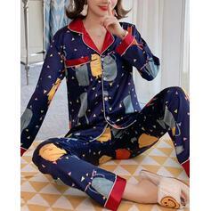 Turn-down Collar Long Sleeves Print Floral Pajamas Sets