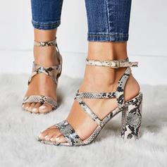 Frauen PU Stämmiger Absatz Sandalen Absatzschuhe Peep Toe mit Schnalle Tierdruckmuster Schuhe