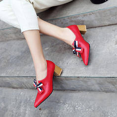 Women's Leatherette Chunky Heel Pumps With Bowknot shoes