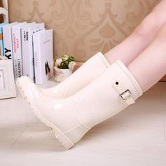 Donna PVC Tacco basso Stivali Stivali al ginocchio Stivali da pioggia con Rivet Fibbia scarpe