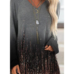 Print Gradient V-Neck Long Sleeves Sweatshirt