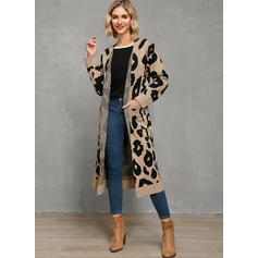 Leopardo Casuales Largo Suéteres