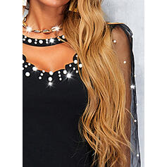 Print U-Neck Long Sleeves Elegant Blouses