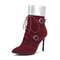Femmes Suède Talon stiletto Escarpins Bottes Bottines Bottes mi-mollets avec Boucle Zip Dentelle Semelle chaussures