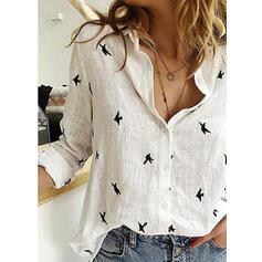 Print Lapel Long Sleeves Button Up Shirt Blouses