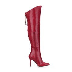 Women's Leatherette Stiletto Heel Pumps Closed Toe Boots Over The Knee Boots With Lace-up shoes