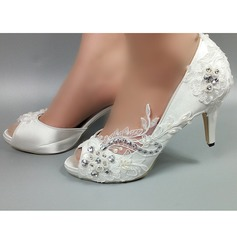 Women's Satin Stiletto Heel Peep Toe Pumps With Imitation Pearl Rhinestone Stitching Lace Flower