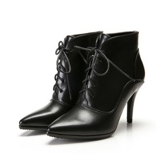 Women's Leatherette Stiletto Heel Platform Ankle Boots With Braided Strap Split Joint shoes
