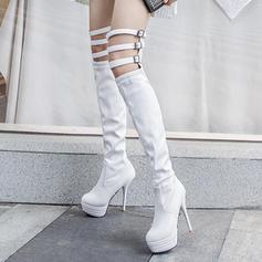 Frauen Kunstleder Stöckel Absatz Absatzschuhe Plateauschuh Stiefel Stiefel über Knie mit Schnalle Hohl-out Schuhe