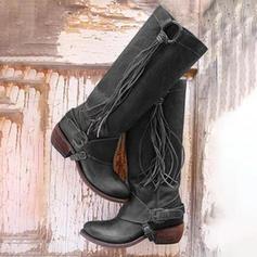 Frauen PU Niederiger Absatz Absatzschuhe Geschlossene Zehe Stiefel Kniehocher Stiefel mit Schnalle Quaste Schuhe