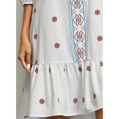 Print 3/4 Sleeves Shift Knee Length Casual/Boho/Vacation Dresses