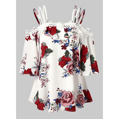 Print Floral Cold Shoulder Flare Sleeve 1/2 Sleeves Casual Blouses