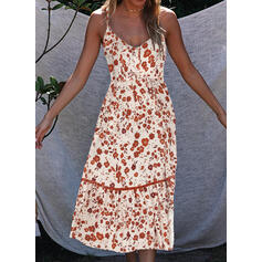 Print/Floral Sleeveless A-line Slip Casual/Vacation Midi Dresses