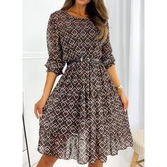 Print Long Sleeves/Puff Sleeves A-line Knee Length Casual Skater Dresses