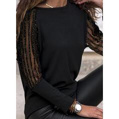 Solid Blonder Rund hals Lange ærmer Elegant Skjorter