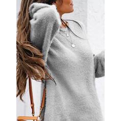 Jednolity Okrągły dekolt Casual Długie Sukienka sweterkowa