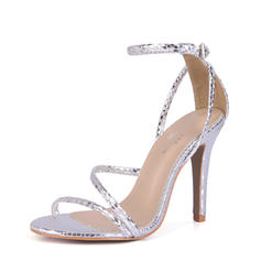 Women's PVC Stiletto Heel Sandals Pumps Peep Toe With Buckle shoes