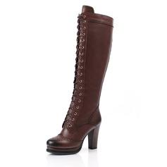 Femmes Vrai cuir Talon bottier Bottes hautes Martin bottes avec Dentelle chaussures