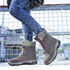 Women's Suede Low Heel Mid-Calf Boots Snow Boots With Lace-up shoes