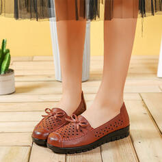 Women's PU Flat Heel Flats Round Toe With Hollow-out shoes