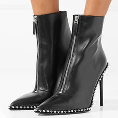 Women's Real Leather Stiletto Heel Pumps Mid-Calf Boots With Zipper Others shoes