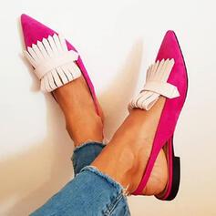 De mujer PU Tacón ancho Planos Dedo del pie puntiagudo con Agujereado zapatos