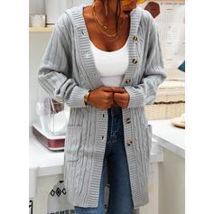 Jednobarevné Copánkový vzor Hrubá pletenina Buzunar S kapucí Neformální Dlouhé Kardigan