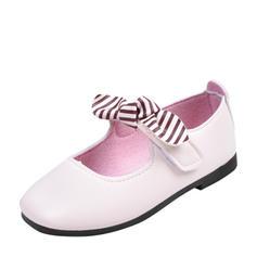 Muchacha Kunstleder Encaje Punta Cerrada Planos Zapatos de niña de las flores con Velcro