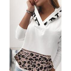 Imprimeu leopard Mâneci Lungi Hanorac