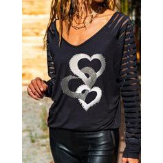 Print Heart V-Neck Long Sleeves Casual Blouses