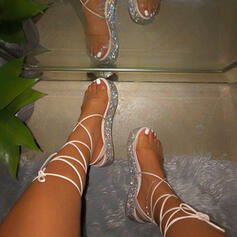 Frauen PU Flascher Absatz Sandalen Schuhe