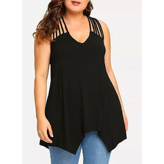 Solid V-Neck Sleeveless Casual Sexy Plus Size Tank Tops