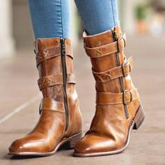 Donna PU Tacco basso Stivali con Fibbia Cerniera scarpe