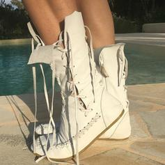 Women's PU Flat Heel Flats Boots Mid-Calf Boots With Zipper Lace-up shoes
