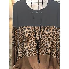 Geblockte Farben Leopard Rundhalsausschnitt Lange Ärmel Freizeit Blusen