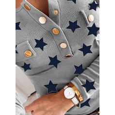 Trykk V-hals Lange ermer Button up Casual Strikking Bluser
